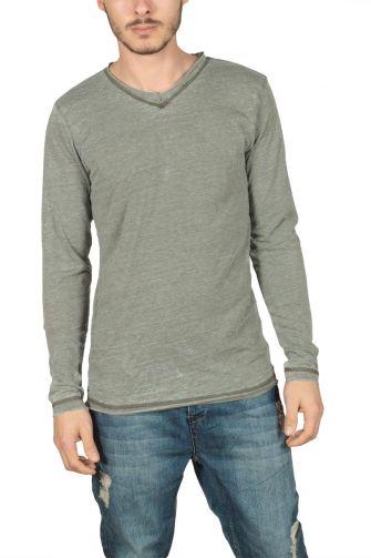 Ανδρική μακρυμάνικη μπλούζα χακί μελανζέ