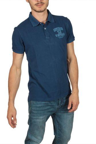 Superior Vintage πόλο μπλούζα πικέ μπλε