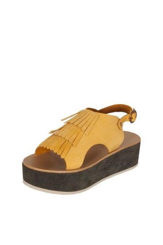 Arpyes Anemone leather platform sandals yellow