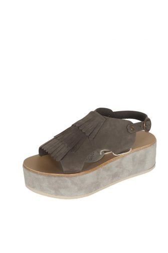 Arpyes Anemone leather platform sandals taupe