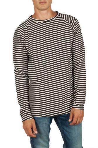 French Kick Ice raglan sweatshirt white-blue stripes