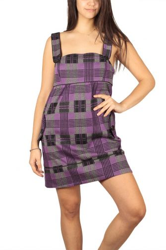 Check dress purple with straps