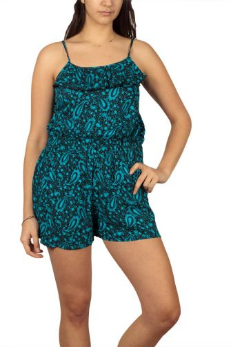 Strappy playsuit black with paisley print