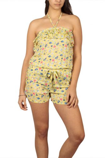 Strapless playsuit yellow floral with ruffle trim
