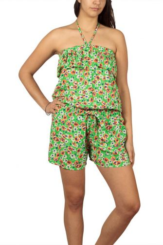 Strapless playsuit green floral with ruffle trim