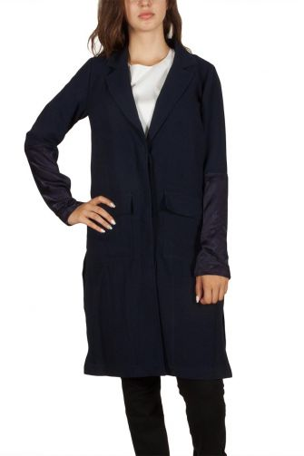 Soft Rebels Diamant long jacket navy