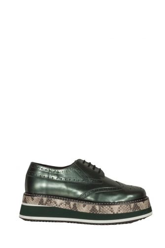 Women's platform Brogues Favela Pavel metal soft green