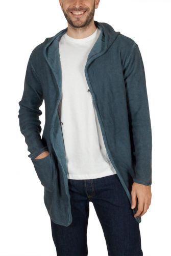 Men's longline hooded cardigan blue