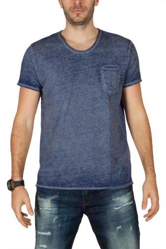 LTB Jenalo ανδρικό t-shirt μπλε πετροπλυμένο με τσεπάκι