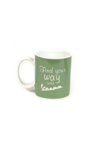Vespa Find your way ceramic mug green