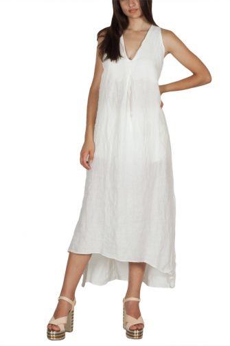 Lotus Eaters Jefferson open back linen dress white
