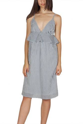 Migle + me αμπίρ φόρεμα ριγέ λευκό-μπλε με τιράντες