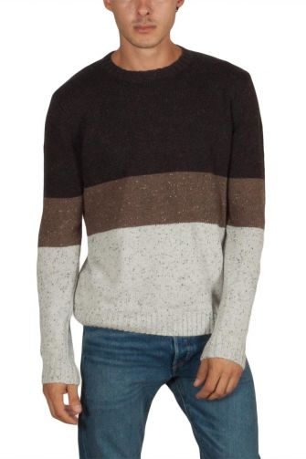 Anerkjendt Thorkild colorblock knit sweater brown marl