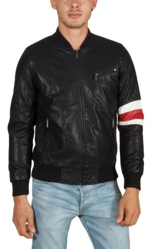 Just Boy leather-look bomber jacket black