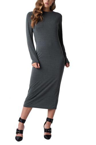 Rut & Circle Polo long sleeve midi dress grey