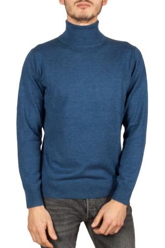 Men's turtleneck jumper blue melange New Sensation