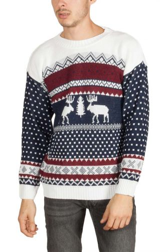 Reindeer men's christmas jumper navy-white