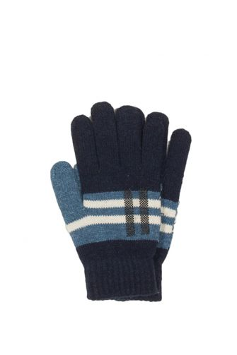 Knitted gloves blue with contrast pattern