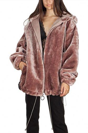 Story Of Lola oversized faux fur zip hoodie dusty rose