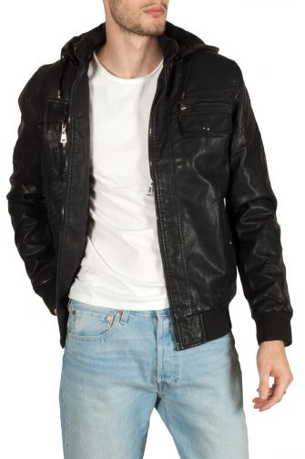 Men's leather-look jacket with faux-fur lining