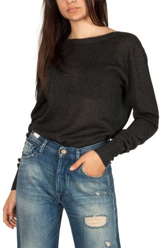 Pepaloves Elena V-back viscose sweater black