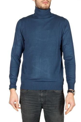 Men's turtleneck viscose jumper indigo