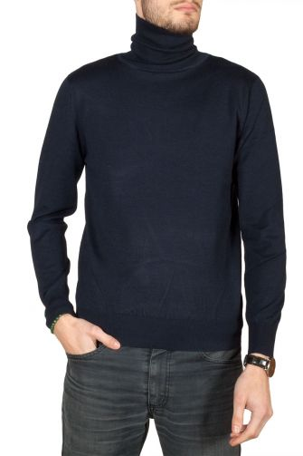 Men's turtleneck jumper blue