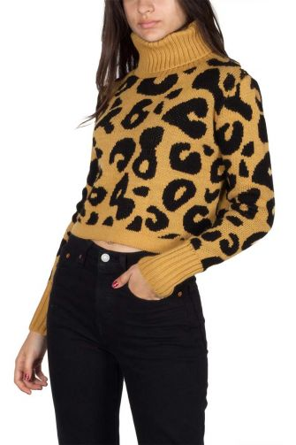 Turtleneck cropped leopard jumper camel