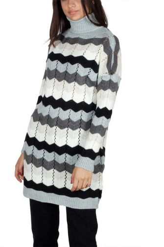 Longline turtleneck jumper with zig zag pattern