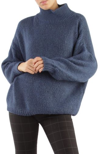 Women's turtleneck jumper blue