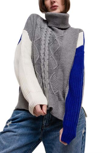 Women's turtleneck jumper grey-blue