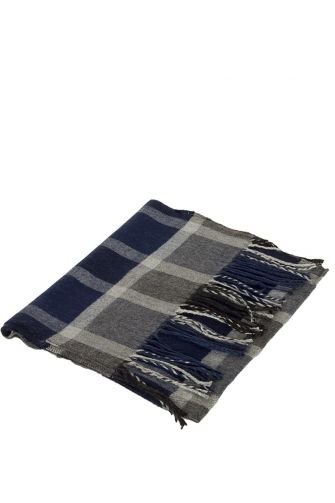 Soft scarf with fringes in navy-grey check