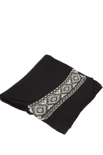 Knitted scarf black with ethnic stripe