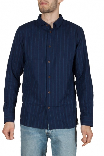 Anerkjendt Niko long sleeve striped shirt blue