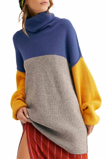 Free People color-blocked turtleneck tunic sweater