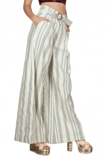 Free People Hi Tyed striped wide leg pants ivory
