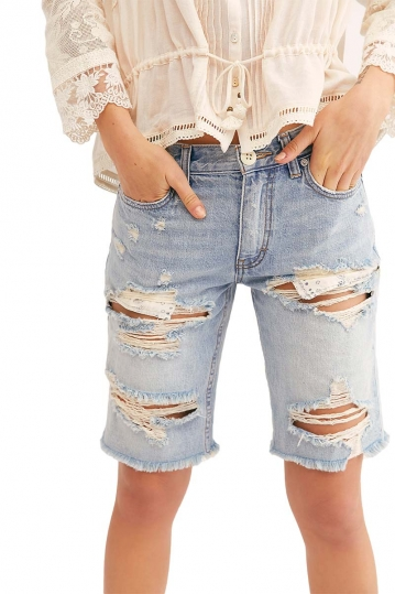 Free People Caroline cutoff destroyed denim shorts