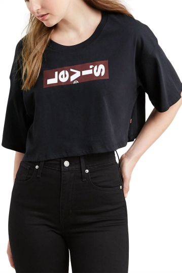 LEVI'S® Graphic crop slacker t-shirt black