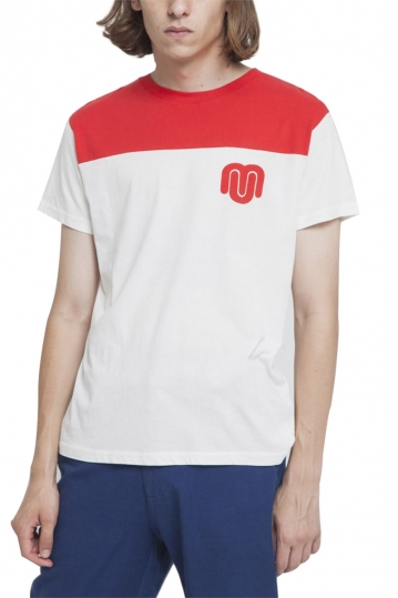 Thinking Mu organic cotton t-shirt red rugby
