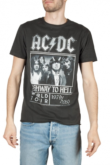 Amplified ACDC Highway to Hell poster t-shirt charcoal