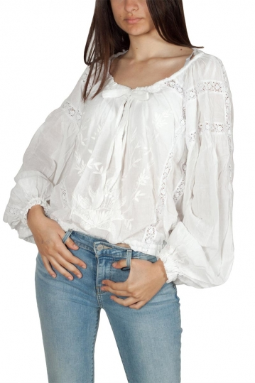 Free People Maria lace blouse white