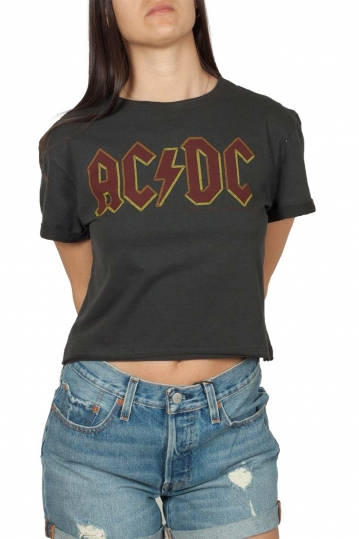 Amplified AC/DC crop top charcoal