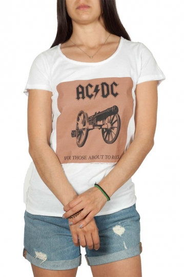 Amplified AC/DC For those about to rock cover t-shirt λευκό