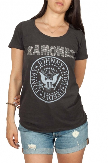 Amplified Ramones silver diamante logo t-shirt ανθρακί