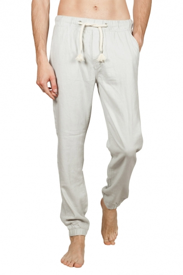Men's linen blend jogger pants light grey