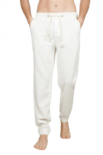 Men's linen blend jogger pants white