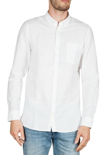 Gnious Linus linen blend men's shirt white