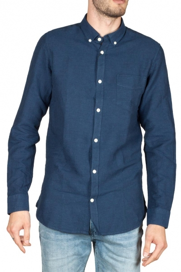 Gnious Linus linen blend men's shirt navy