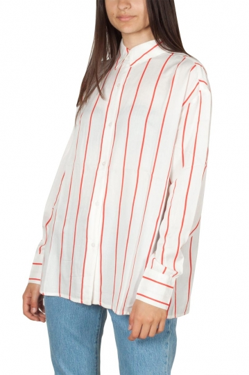 Rut and Circle oversized stripe shirt white-red