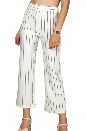 Rut and Circle striped culotte white-black